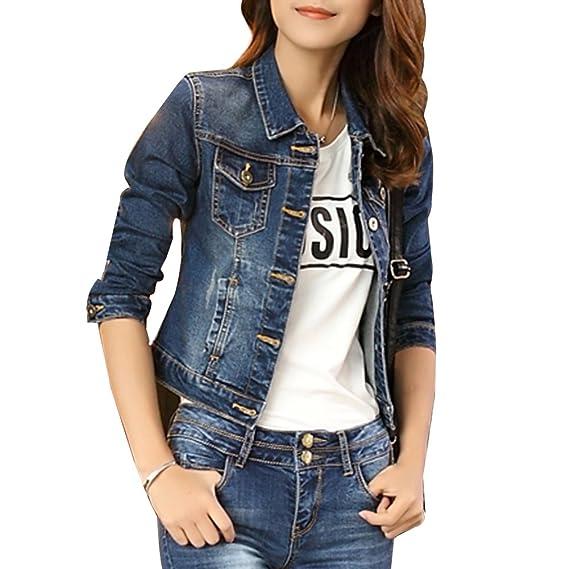 Corto Chaquetas Jacket De Mezclilla Slim Fit Manga Larga Abrigo Denim Jackets Cazadora Vaquera para Mujer Azul XL: Amazon.es: Ropa y accesorios