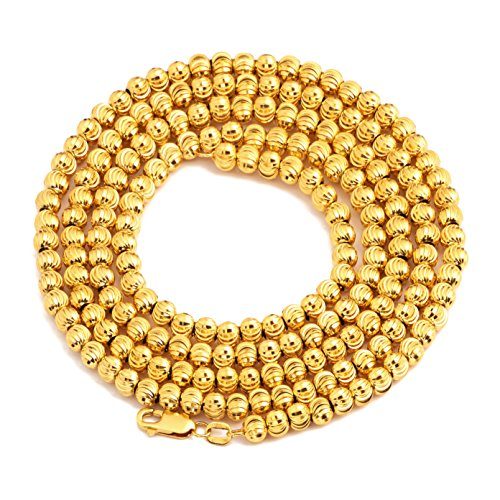 LoveBling 10K Yellow Gold 6mm Italian Moon Cut Bead Chain Necklace with Lobster Lock (24'') by LOVEBLING