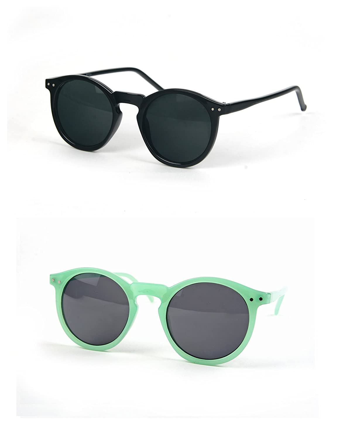 Women Retro Round Wayfarer Sunglasses P1123 (2 pcs Black-Smoke & PaleGreen-Smoke)
