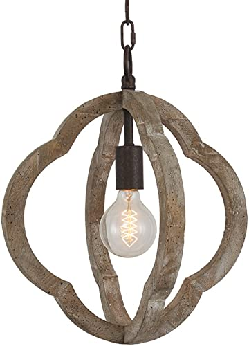 DOCHEER 1-Light Vintage Wooden Iron Chandelier Pendant Lamp Metal and Wood Frame Orb Chandelier Hanging Ceiling Mount Chandelier Lamp Home Simply Decoration UL Listed