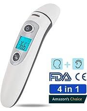 Termómetro Digital Frente y Oído,termómetro Multifunción 4 en 1 de infrarrojos de precisión Hkiytime para bebés, niños y adultos con,advertencia de fiebre, certificación CE y FDA