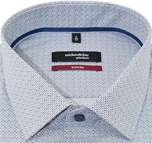 Seidensticker Herren Hemd modernfit blaues Hemd mit Druck langarm Kent Tape mit Tasche Kollektion Size 42