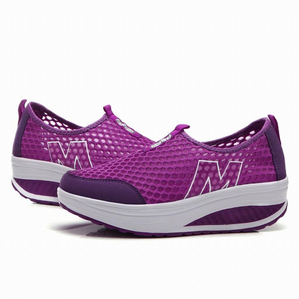 L LOUBIT Women Sneakers Comfort Slip On Wedges Shoes Breathable Mesh Walking Shoes For Women B076Z8VT39 6.5 B(M) = foot 9.25inch Purple