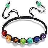 HARRYSTORE 7 Chakras Pulsera Ajustables Yoga Jade ágata Kundalini Mujer terapias magneticas, curación energética