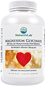 Magnesium Glycinate - 400mg - 120 Capsules (30 Day Supply) Calcium Absorption, Cardiovascular Health, Muscle and Nerve Function, Protein Synthesis