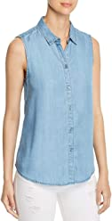 294aa567d4 Beach Lunch Lounge Womens Leilanah Chambray Pineapple Print Button-Down Top