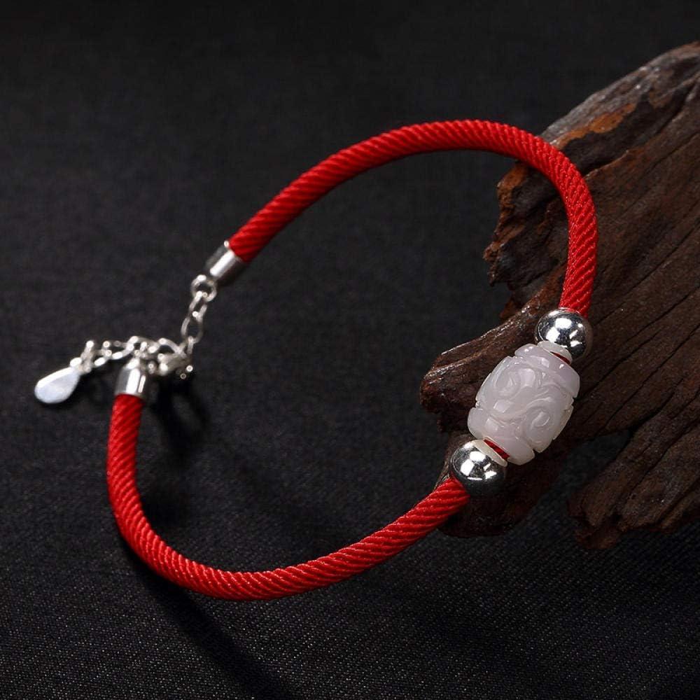 AQGELSL Red Rope Bracelet s925 Sterling Silver hetian Jade White Jade Ball Love Heart Shape Lady Natal Year Red Rope Bracelet