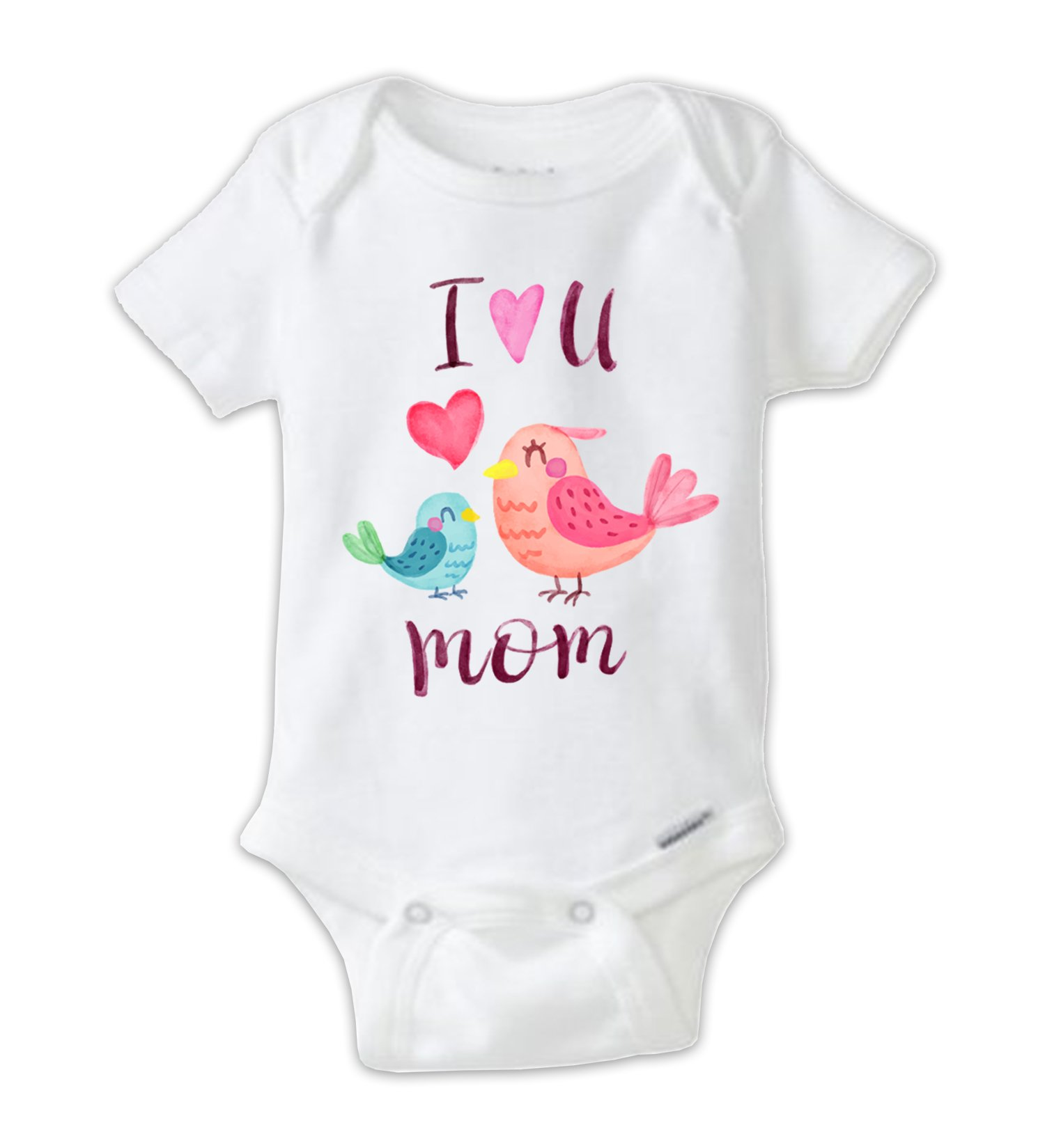 Juju Apparel I Love U Mom Mommy Bird and Baby Bird Water Color Bodysuit, Mother's Day Onesie (Newborn)