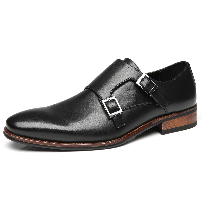 Faranzi Mens Single Monk Strap Slip On Buckle Loafer Plain Toe Oxford Modern Formal Business Dress Shoes