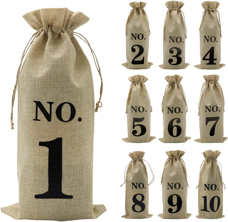 Jute Wine Bottle Bags with Drawstring 10pcs 35.5cm x 16cm Red Jute Wine Bags Wine Protector Bags Wine Packaging Fabric Wine Bottle Gift Cover for Christmas Wedding Festival Party