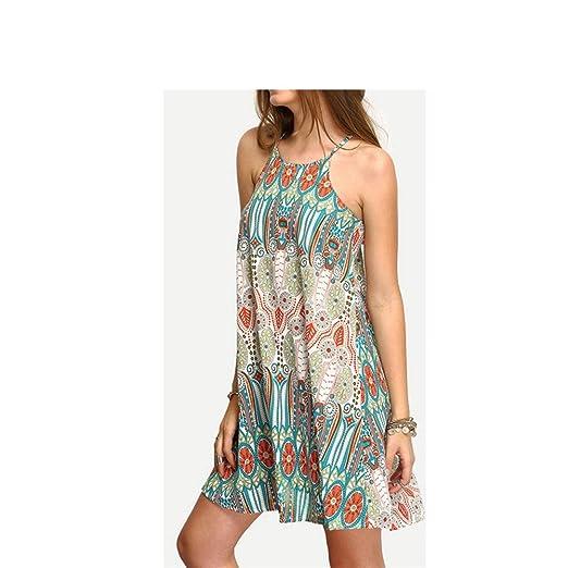 4040791f1785e Mywine Hot Summer Strap Print Long Boho Bohemian Beach Dress Women ...