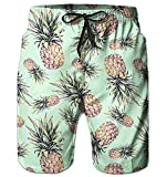 Alistyle Mens 3D Print Pineapple Shorts Summer Casual Beach Surfing Board Shorts