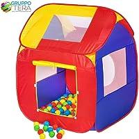 Bakaji Tenda Casetta Gioco per bambini con 200 Palline Giochi Salvaspazio Pieghevole POP-UP con borsetta da trasporto