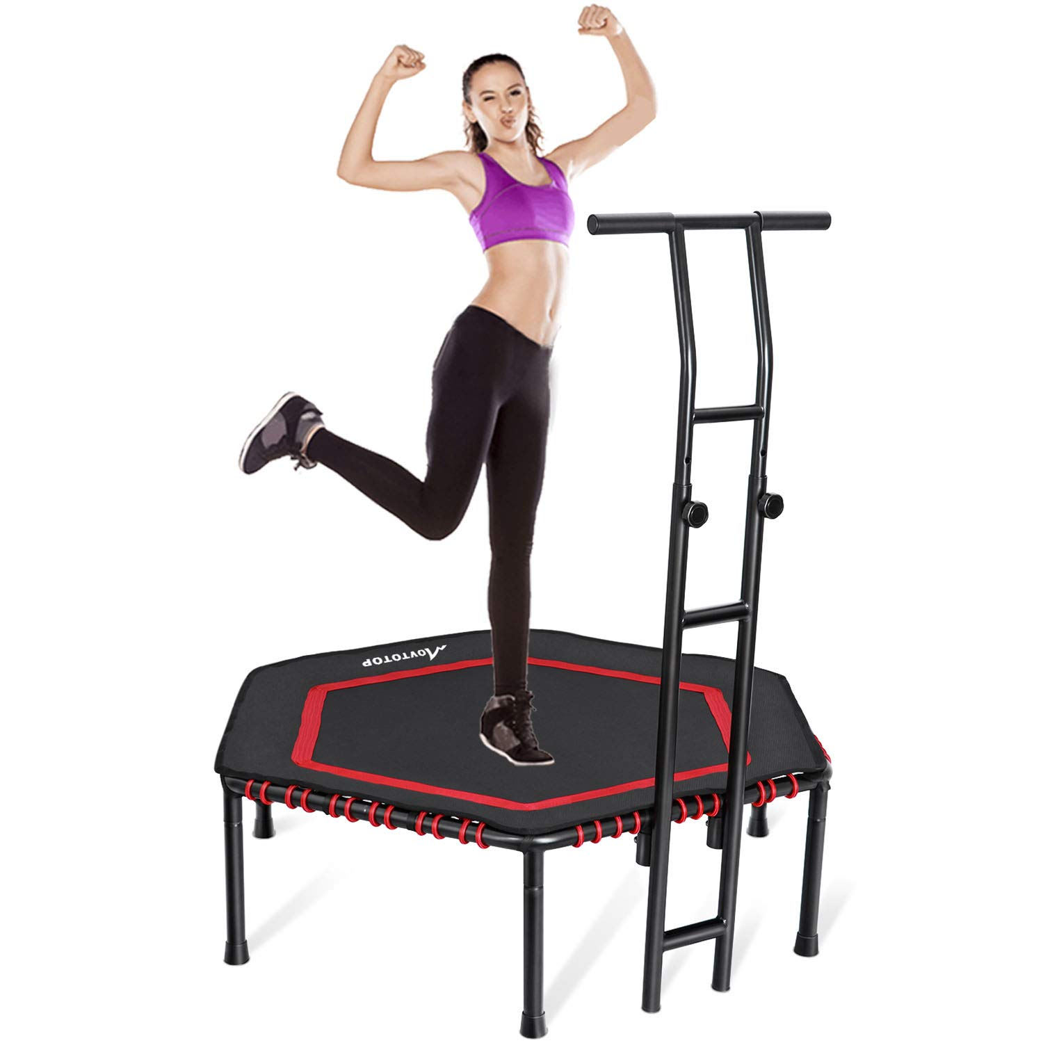 MOVTOTOP Indoor Fitness Trampoline Folding 48 Inch with Adjustable Handrail and Safety Pad, Exercise Trampoline Rebounder for Kids Adults