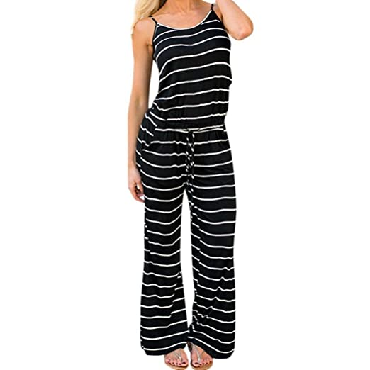 3d84a7225a1 Rambling Fashion Women s Comfy Striped One Piece Jumpsuit Loose Sleeveless  Wide Leg Long Pants Romper Black