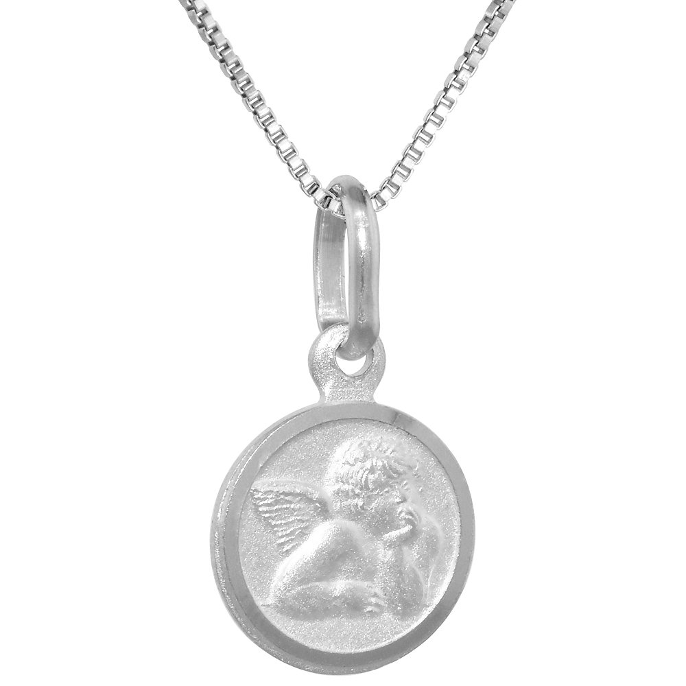 16-30 inch 0.8mm/_Box/_Chain Very Tiny Sterling Silver Guardian Angel Medal Necklace 3//8 inch Round Italy