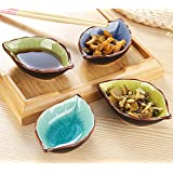 Sauce Dishes Sauce Boat,STAR-TOP Hand-crafted Beautiful Condiment Dishes Snack Serving Dishes Set of 4