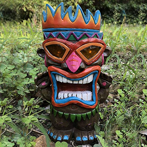 Direct Source Imports Solar Tiki Man Light, 4 Inches by 4 1/2 Inches by 10 1/2 Inches, Includes Solar Pack]()
