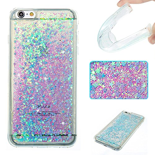 Price comparison product image iPhone 6s Plus Case,iPhone 6 Plus Case,DAMONDY 3D Cute Bling Liquid Glitter Floating Quicksand Diamond Water Flowing Ultra Clear Soft TPU Case for iPhone 6s Plus 5.5 Inch ONLY -sliver blue star