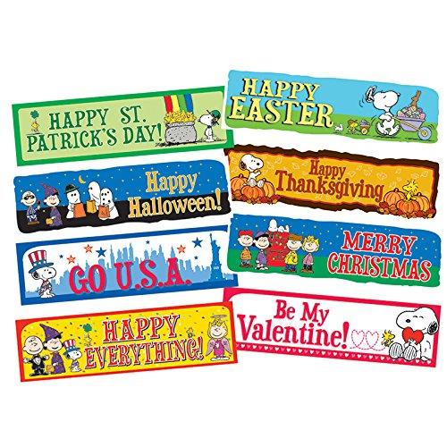 Eureka Peanuts Holidays Bulletin Board Set, Back to School Classroom Decorations, 6.5''x0.1'' x 26'', 8 pc