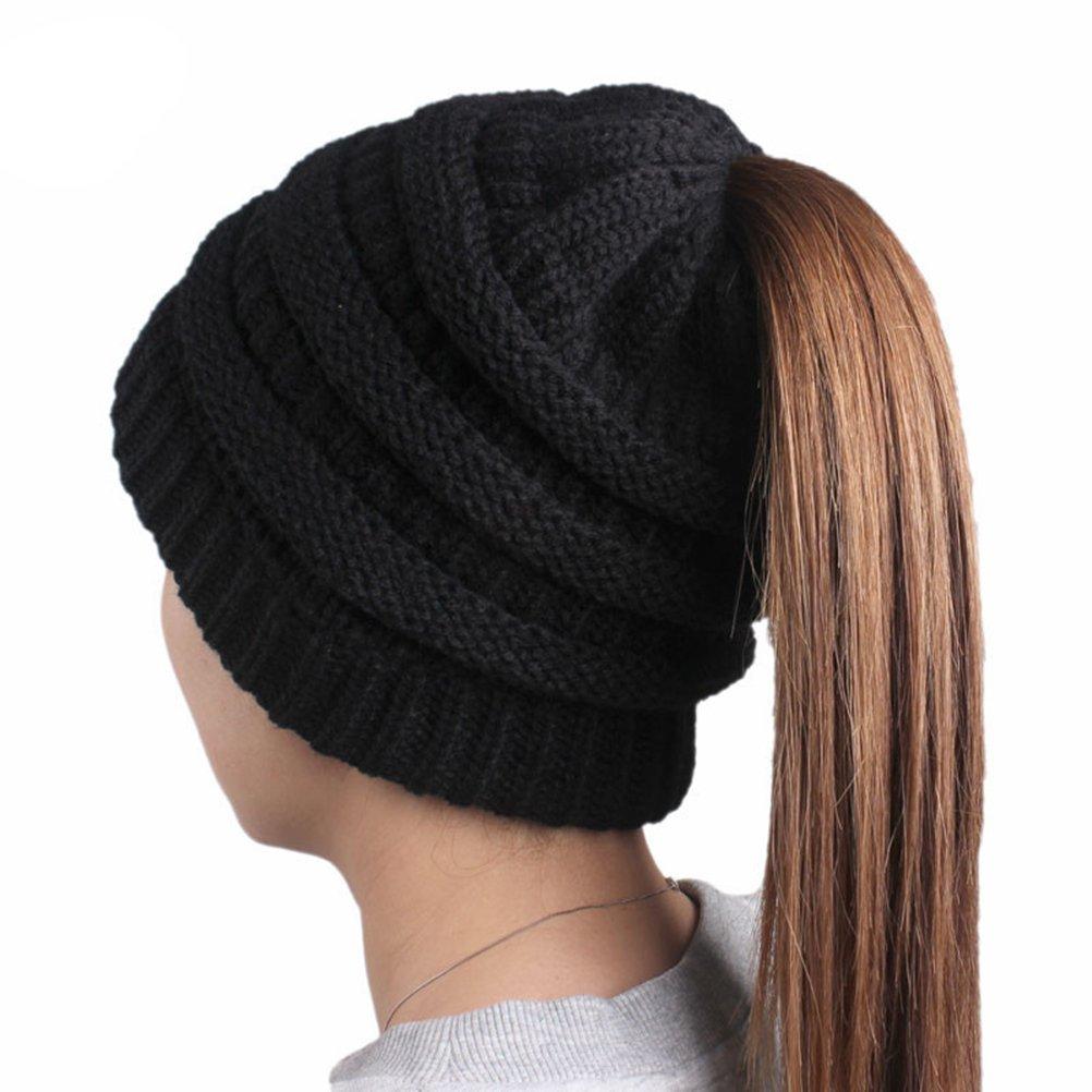 Cappello con buco per coda di cavallo OULII Berretto beanie caldo e termico invernale di lana per le donne Nero V031101I30H7