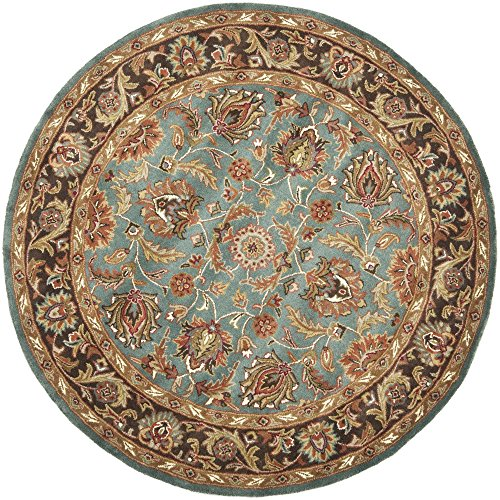 Brown Round Rug Oriental (Safavieh Heritage Collection HG812B Handcrafted Traditional Oriental Blue and Brown Wool Round Area Rug (8' Diameter))