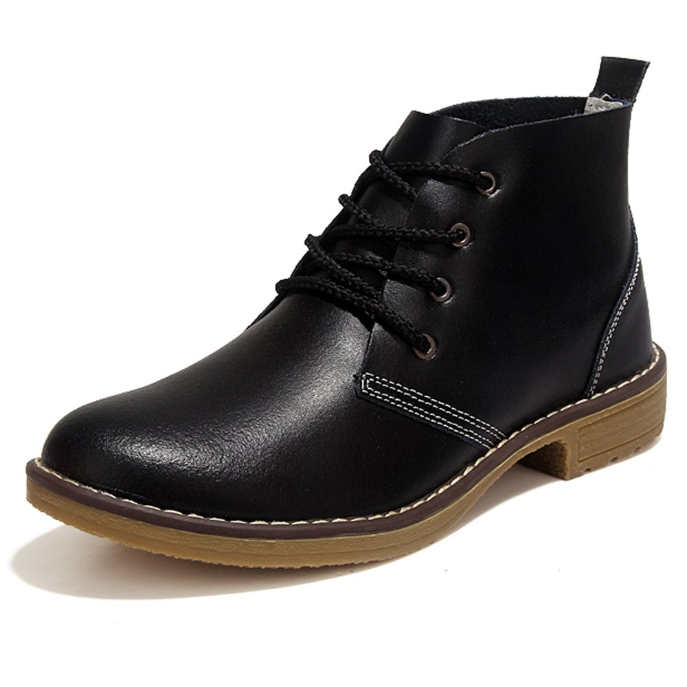 YZHYXS Ankle Boots for Women Flat Heel Cow Leather Lace up comforable Fashion Womens Flat Short Booties Black Size 7 (2621black37)