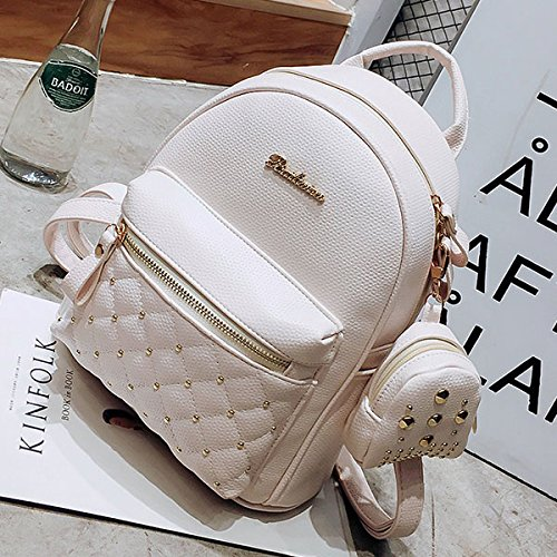 PU for Small Backpacks School White Leather Backpack Bag SODIAL white Women's Teenage Lady Bag Bags Retro Women's qzRqEpxI