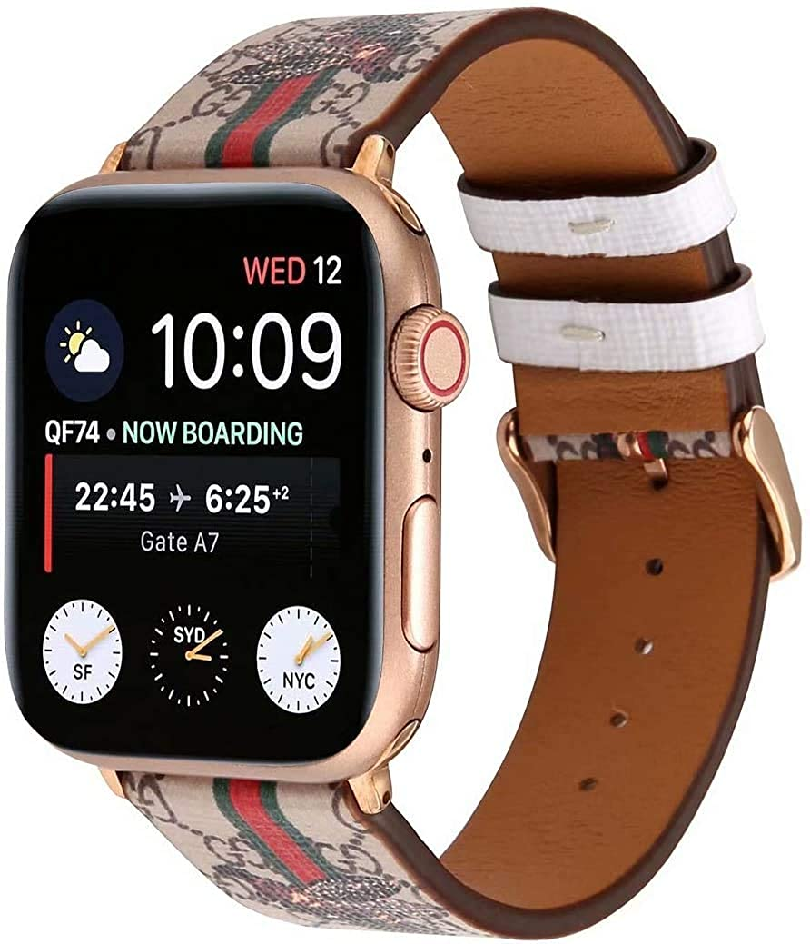 YoomeSun Compatible with iWatch Band 38mm 40mm 42mm 44mm, Luxury Fashion Leather Band Design Compatible with Apple Watch Series 6 6se 5 4 3 2 1