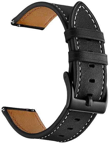 Imagen deSPGUARD Compatible Correa Samsung Galaxy Watch Active 40mm,Pulsera Galaxy Watch Active Pulsera de Cuero Suave con Correa de Repuesto para Samsung Galaxy Watch Active-Negro