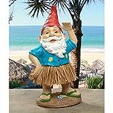 Garden Gnome Statue - Hawaiian Hank Grass Skirt Gnome - Outdoor Garden Gnomes - Funny Lawn Gnome Statues