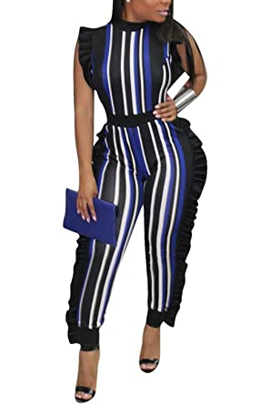 b989c1f64329 Amazon.com  Chicmay Womens Sleeveless Stripe Ruffle Bodycon Long Pants  Party Jumpsuits Romper  Clothing