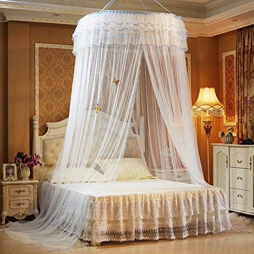 Princess Hanging Round(diamater=47.2inch) Extra Big Lace Canopy Bet Netting Mosquito Net for Crib Twin Full Queen Bed Yellow (White)