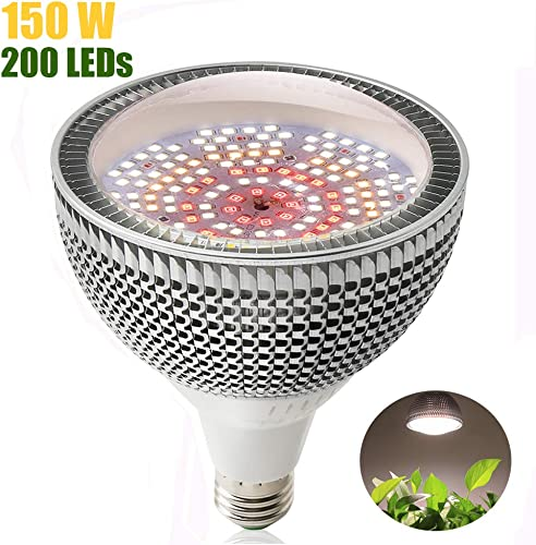 LED Grow Light Bulb, 150W Daylight White Full Spectrum Grow Light for Indoor Plants, 200 LEDs Plant Light Bulb for Seedlings Vegetable , E26 E27 Grow Lamp for Hydroponics, Greenhouse, Organic Soil