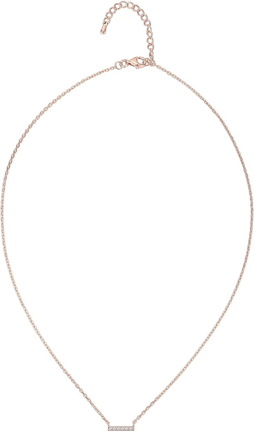 PAVOI 14K Gold Plated Heart//Dot//Bar//Triangle Necklace Layered Necklaces 18 Length with a 2 Extension Gold Necklaces for Women
