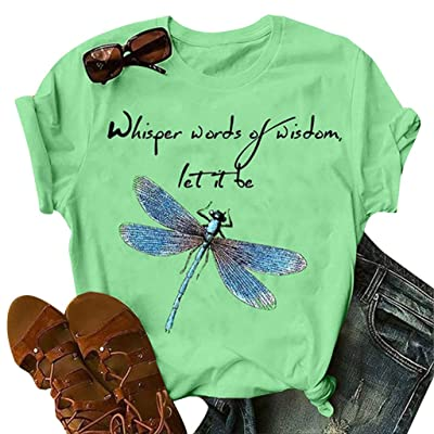 Winsummer Whisper Words of Wisdom let it be T-Shirt Women Short Sleeve T-Shirts Graphic Tees Shirt Tops Hippie Tshirt at Women's Clothing store [5Bkhe0303742]