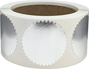 Metallic Silver Envelope Seals Starburst Color Coding Labels Certificate Award Stickers 2 Inch Round Circle Dots 500 Total Adhesive Stickers On A Roll