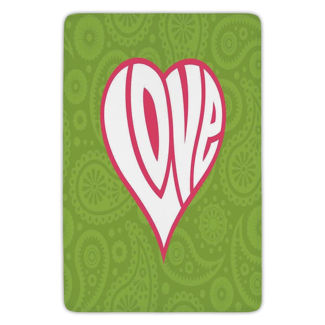 Bathroom Bath Rug Kitchen Floor Mat Carpet,Groovy Decorations,Heart Illustration on Paisley Background Centre of Love Nutrient Retro Design,Green White Pink,Flannel Microfiber Non-slip Soft Absorbent