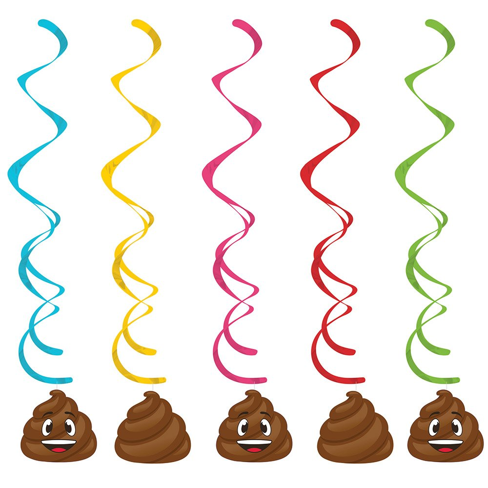 Creative Converting 329371 Poop Emojions 30-Count Dizzy Dangler Decorative Streamers by Creative Converting