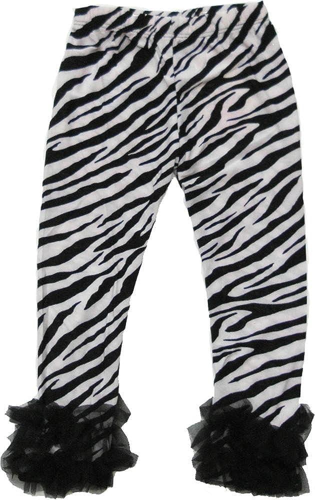 wenchoice Girl's Zebra Printed Legging with Black Double RuffleÂÂÂ
