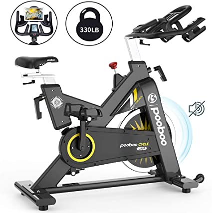 pooboo Exercise Bike Indoor Cycling Bike Magnetic Upright Stationary Bike Indoor Bicycle with LCD Display and Adjustable Resistance for Home Cardio Workout