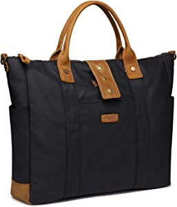 Laptop Bag for Woman,VASCHY Water Resistant Vintage Leather Waxed Canvas Laptop Tote Work Bag for Women Fits 15.6inch Laptop with Detachable Shoulder Strap
