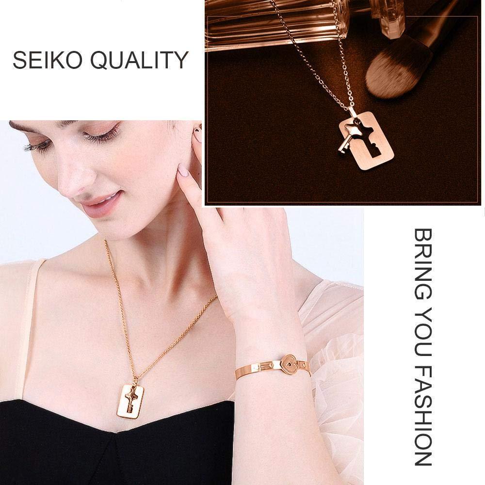 Matching Set Rose Gold Blue Titanium Stainless Steel Couple Pendants Necklace