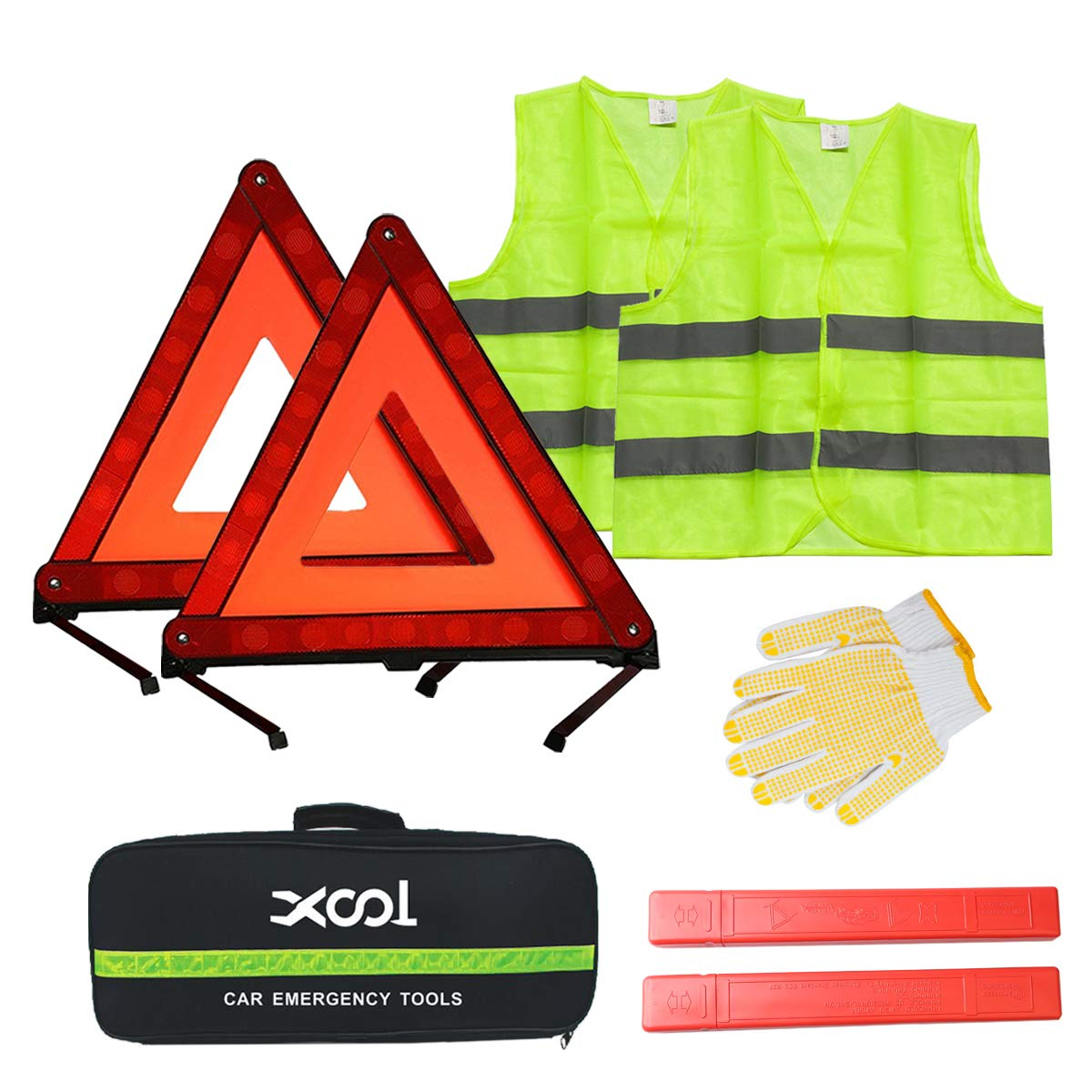 XOOL Safety Triangle Warning Kit,Car Roadside Emergency Kit with Reflective Warning Triangle,Visibility Roadside Vest, Storage Bag and Glove for Use Roadside Breakdowns Emergencies