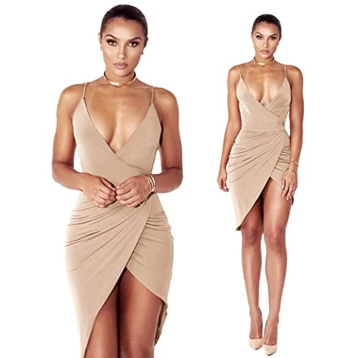 9667837b8c32 Auwer-Dress Women s Sexy V Neck Spaghetti Strap Bodycon Wrap Dress Front  Slit Bandage Midi