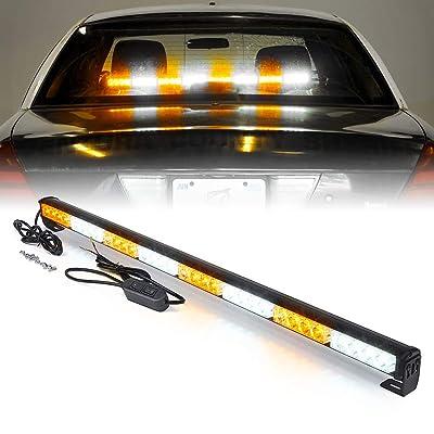 "Xprite 35.5"" White Mix Yellow/Amber 32 LED Traffic Advisor Advising Emergency Vehicle Strobe Top Roof Light Bar w/ 13 Warning Flashing Modes for Trucks Cars: Automotive"