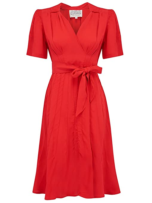 1940s Fashion Advice for Short Women 40s Vintage Inspired Nancy Dress in Solid Red print by The Seamstress of Bloomsbury £79.00 AT vintagedancer.com