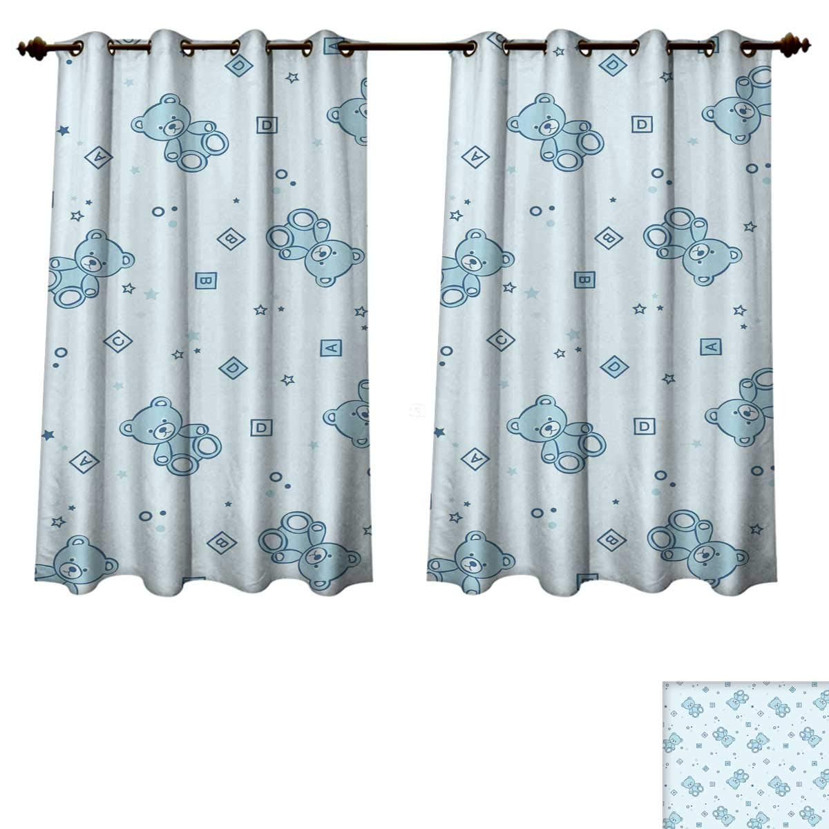RuppertTextile Nursery Bedroom Thermal Blackout Curtains Set of Patchwork Quilt Style Owls on Branches with Green Leaves Bird Mascots Print Drapes for Living Room Multicolor W52 x L63 inch
