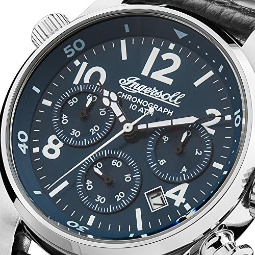 Ingersoll Armstrong kvartsklocka för män med blå urtavla och svart läderrem I02001