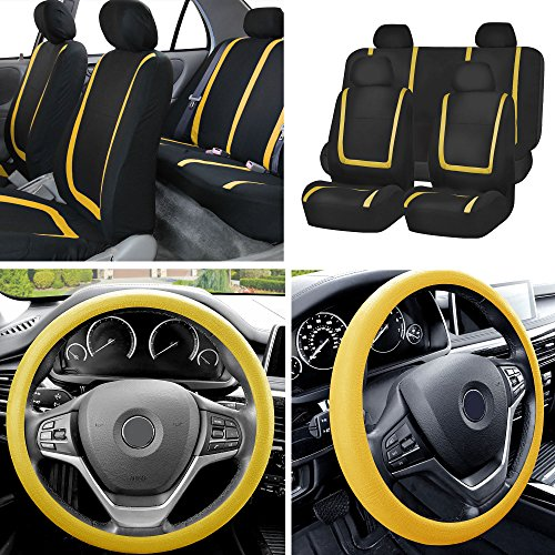FH Group FB032114 Unique Flat Cloth Full Set Car Seat Covers w. Silicone Steering Wheel Cover, Yellow/Black Color- Fit Most Car, Truck, Suv, or Van
